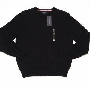 Tommy Hilfiger V-Neck Sweater Cotton Black Large